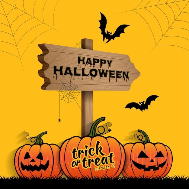 Dolcetto O Scherzetto Halloween.Felice Halloween Dolcetto O Scherzetto Zucche Vettore Premium