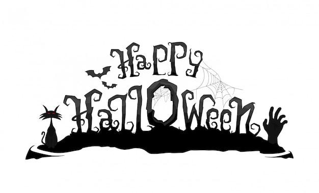 Iscrizione di vettore di halloween felice. testo di calligrafia spaventoso con mano e gatto di zombie Vettore Premium