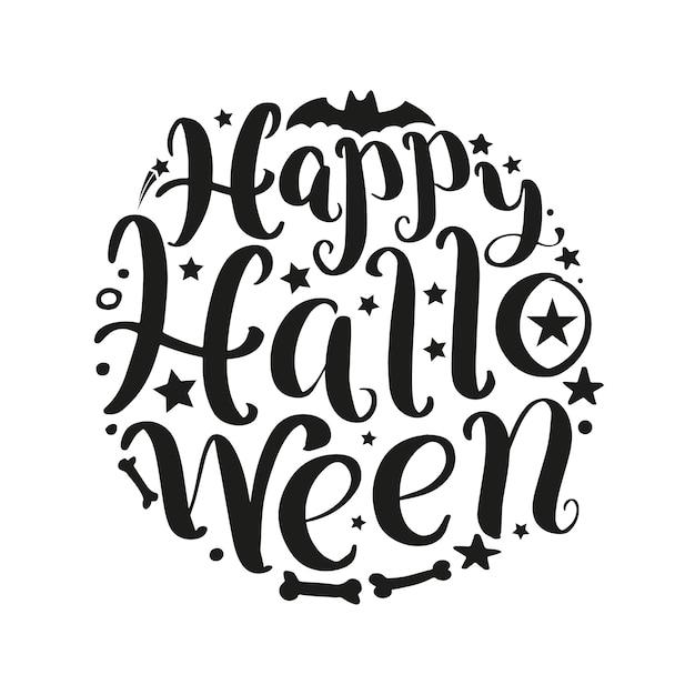 Iscrizione di vettore di halloween felice Vettore Premium