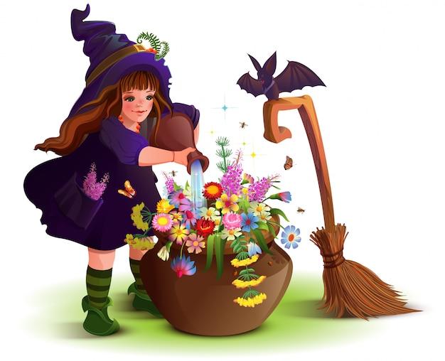 La ragazza felice della strega di halloween cucina la pozione magica del fiore Vettore Premium