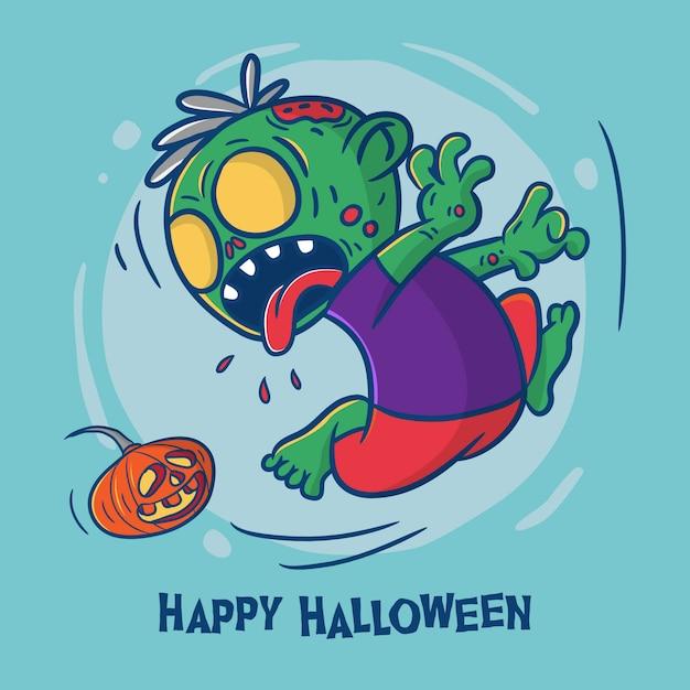 Happy halloween con illustrazione di cartone animato zombie Vettore Premium
