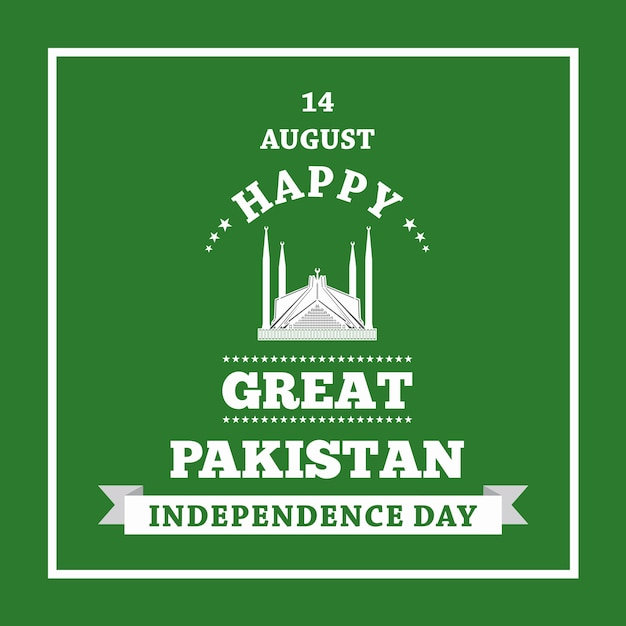 Happy independence day 14 agosto pakistan biglietto di auguri Vettore Premium