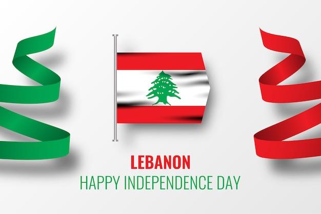Modello felice dell'illustrazione del libano di giorno dell'indipendenza Vettore Premium