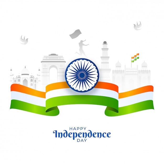 Felice giorno dell'indipendenza poster con ruota di ashoka, nastro bandiera india e monumenti famosi indiani su priorità bassa bianca. Vettore Premium