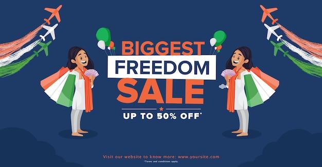Vendita di indipendenza felice con offerte con ragazza con borsa della spesa e soldi su sfondo blu scuro Vettore Premium