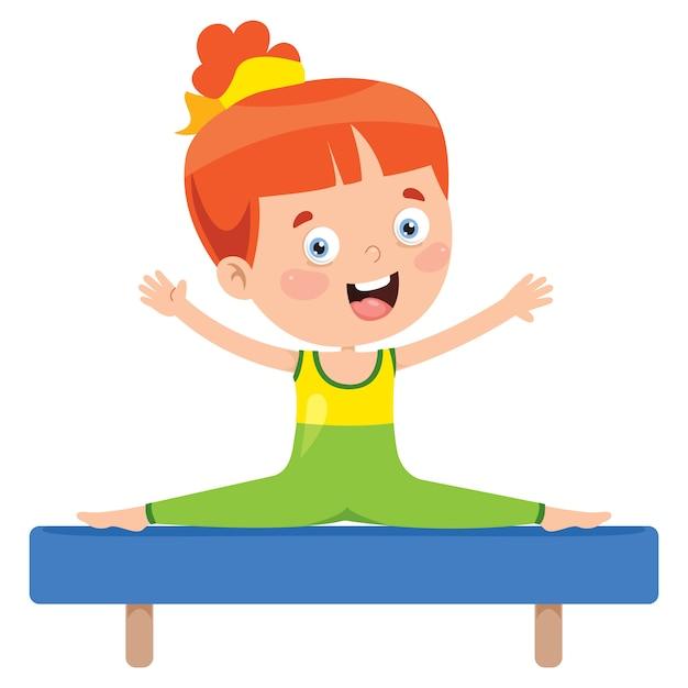 Bambino felice che fa esercizio di ginnastica Vettore Premium