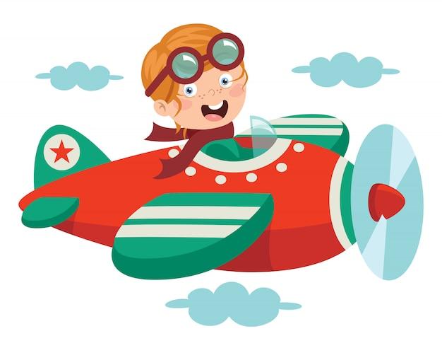 Bambino felice volare in aereo Vettore Premium