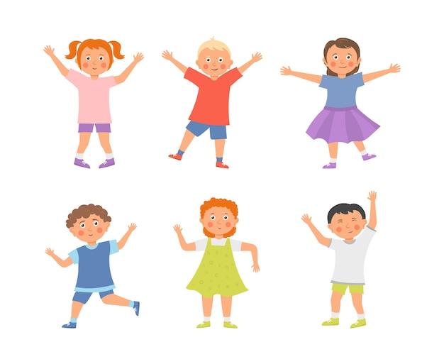Raccolta di cartoni animati bambini felici isolata su bianco Vettore Premium