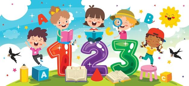 Bambini felici che studiano e imparano Vettore Premium
