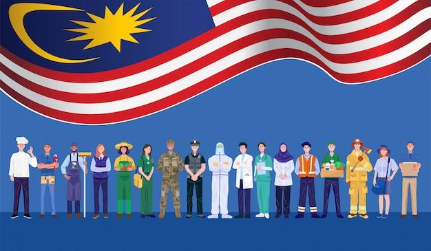 Buona festa del lavoro. varie occupazioni persone in piedi con la bandiera della malesia. vettore Vettore Premium