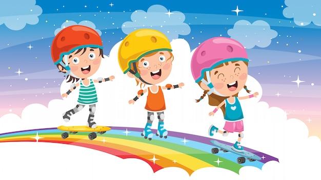 Skateboarding felice dei piccoli bambini fuori Vettore Premium
