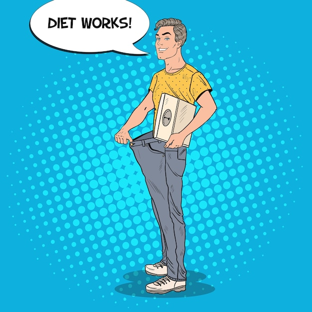Uomo felice in jeans oversize Vettore Premium