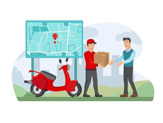 Uomo felice che riceve una scatola di consegna a casa usando un'app per smartphone, il fattorino sta portando una borsa. Vettore Premium