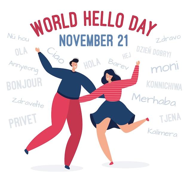 Uomo felice e una donna si congratulano in diverse lingue Vettore Premium