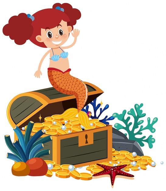 Sirena felice su sfondo bianco Vettore Premium