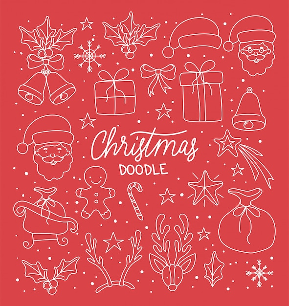 Cartolina di buon natale con font calligrafia e set di icone Vettore Premium