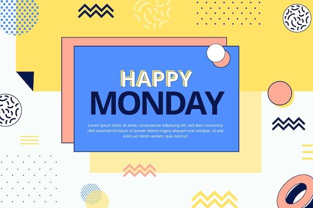 Sfondo di buon lunedì in stile memphis Vettore Premium