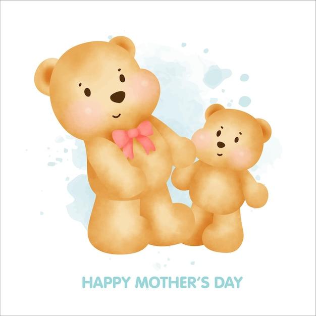 Felice festa della mamma simpatico orsacchiotto e il suo bambino. Vettore Premium