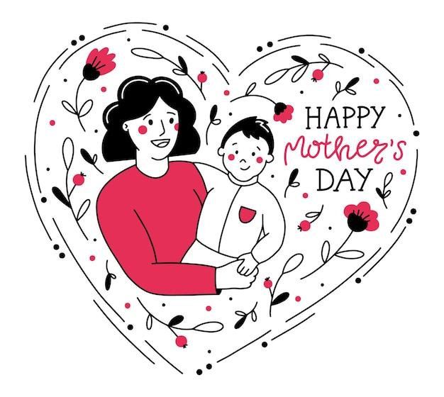 Illustrazione di felice festa della mamma in stile doodle con mamma e bambino Vettore Premium