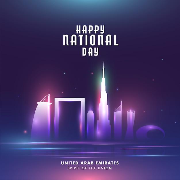 Felice giornata nazionale celebrazione poster con famosa architettura o monumenti e luci Vettore Premium