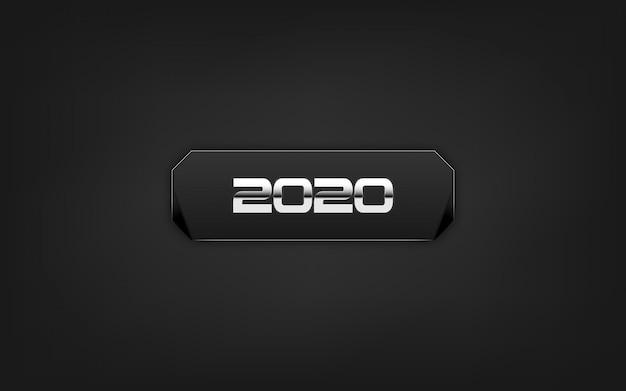 Felice nuovo anno 2020. su sfondo nero. Vettore Premium