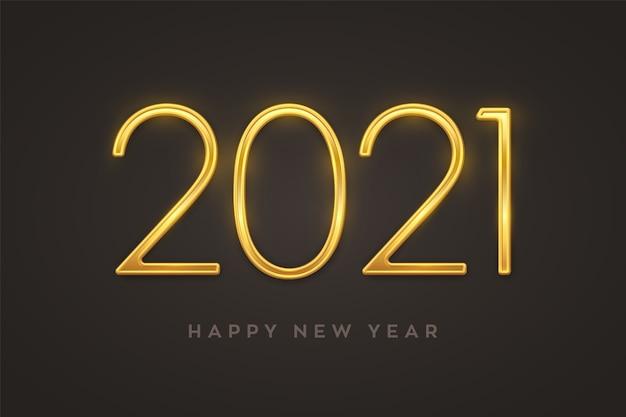 Felice anno nuovo 2021. numeri di lusso metallico dorato 2021. segno realistico per biglietto di auguri. Vettore Premium