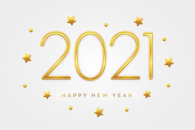 Felice anno nuovo 2021. numeri di lusso metallici dorati 2021 con decorazioni di stelle dorate e perline. Vettore Premium