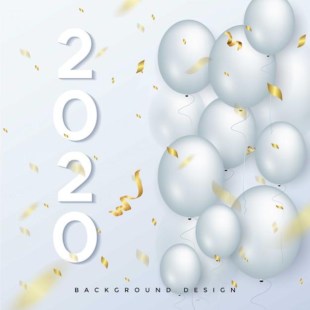 Cartolina d'auguri di felice anno nuovo 2020 Vettore Premium