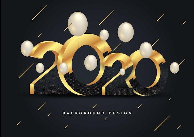 Felice anno nuovo 2020 splendente Vettore Premium