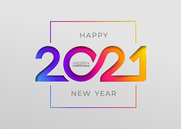 Felice anno nuovo 2021 elegante carta in stile cartaceo per le tue vacanze stagionali Vettore Premium