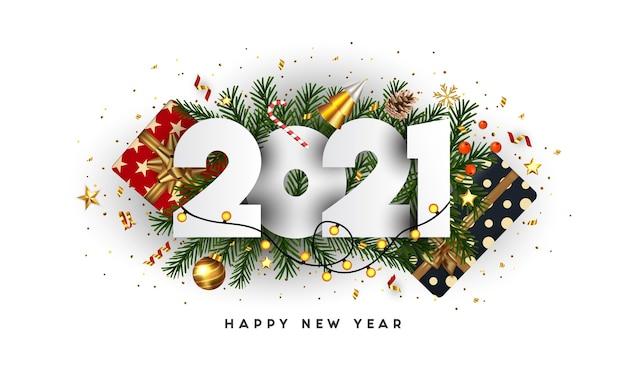 Felice anno nuovo, numeri 2021 su rami di abete verde e ornamenti per le vacanze su sfondo bianco. biglietto di auguri o modello di poster di promozione. . Vettore Premium