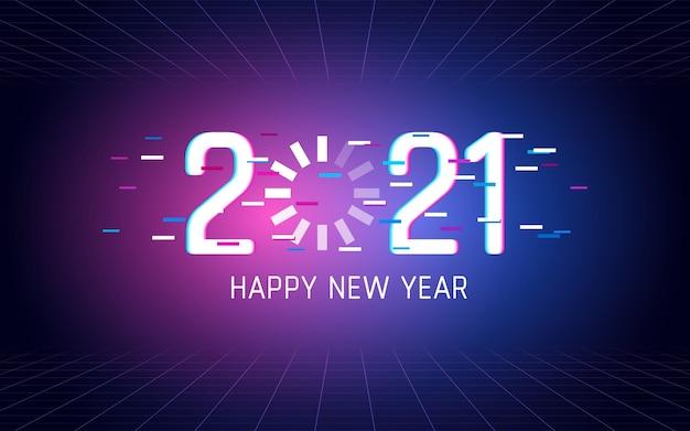 Felice anno nuovo 2021 con caricamento effetto carattere glitch su sfondo di colore chiaro al neon Vettore Premium