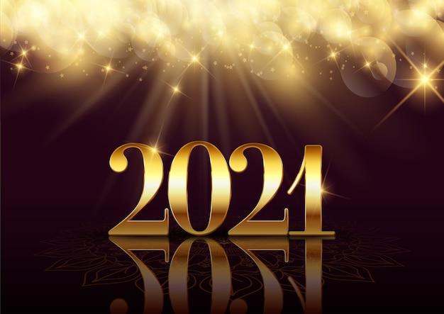 Felice anno nuovo sfondo con un elegante design in oro Vettore Premium