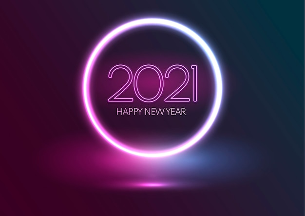 Felice anno nuovo sfondo con design al neon incandescente Vettore Premium