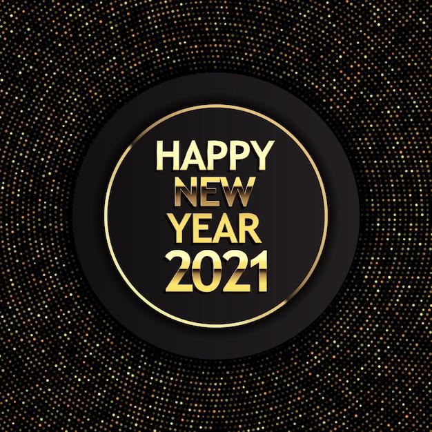 Felice anno nuovo sfondo con punti mezzatinta dorati e scritte metalliche Vettore Premium