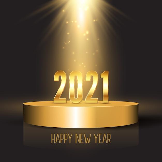 Felice anno nuovo sfondo con numeri d'oro sul display del podio sotto i riflettori Vettore Premium