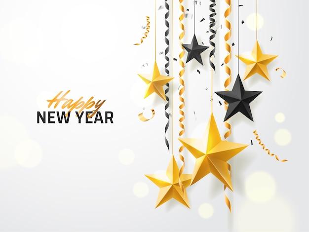 Felice anno nuovo sfondo Vettore Premium