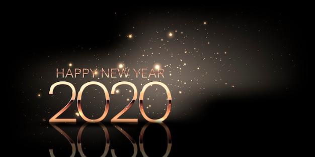 Banner di felice anno nuovo con design scintillante e numeri in oro metallizzato Vettore Premium