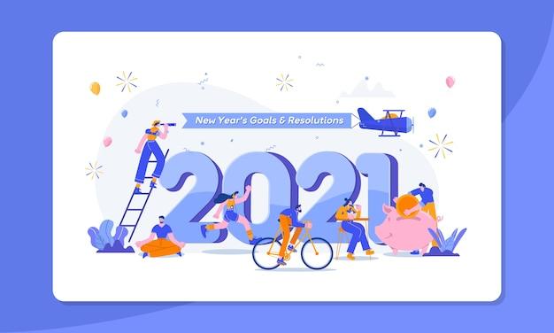 Felice anno nuovo obiettivi e risoluzioni concetto illustrazione piccola gente divertirsi con i loro obiettivi Vettore Premium
