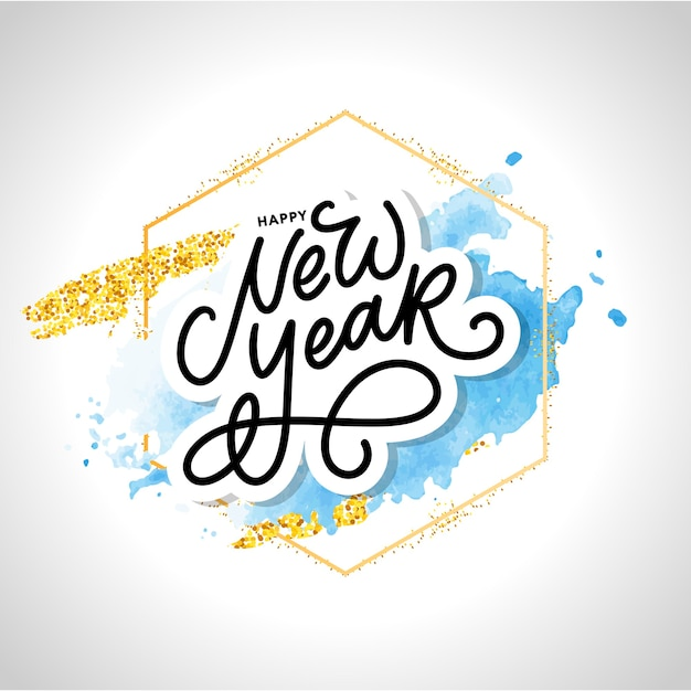 Auguri di felice anno nuovo. elementi di design disegnati a mano. scritto a mano moderna pennello lettering Vettore Premium