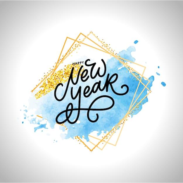 Testo di saluto di felice anno nuovo lettering moderno scritto a mano in cornice dorata Vettore Premium