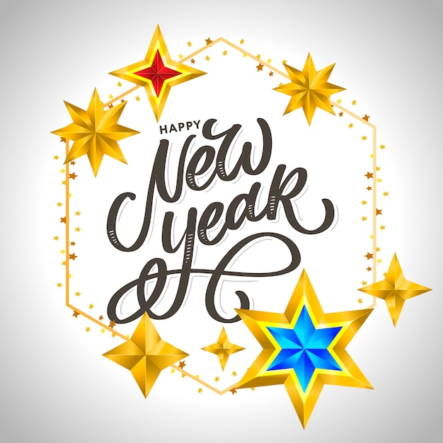 Felice anno nuovo . lettering composizione con stelle e scintille. Vettore Premium