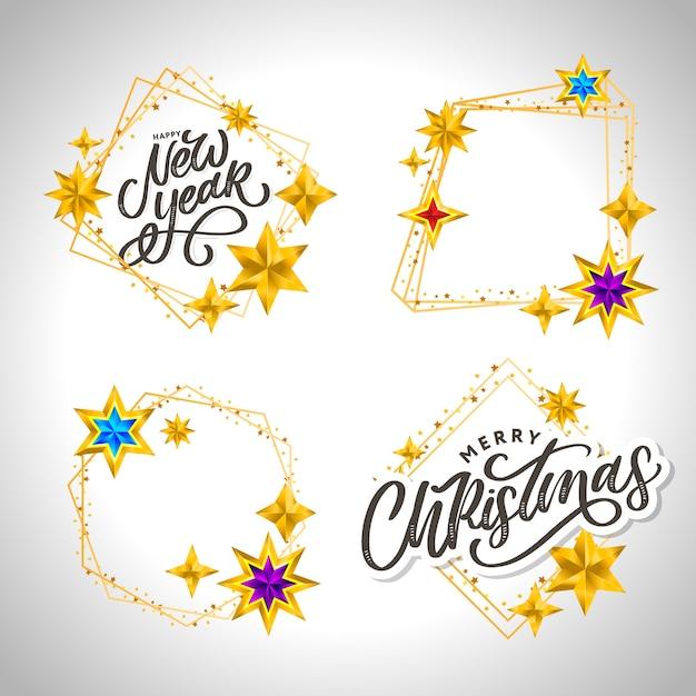 Iscrizione disegnata a mano di felice anno nuovo e buon natale con cornice dorata e stelle Vettore Premium