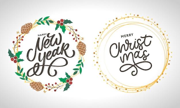 Felice anno nuovo e buon natale scritte a mano moderna pennello lettering Vettore Premium