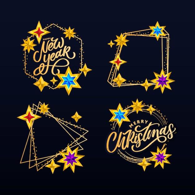 Felice anno nuovo e buon natale lettering composizione impostata con stelle e scintillii. Vettore Premium