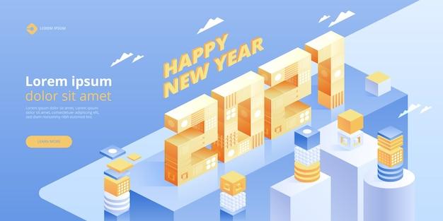 Felice anno nuovo. nuove idee innovative. tecnologie digitali. tecnologia isometrica per banner e poster di vacanze di capodanno. illustrazione con elementi geometrici alla moda Vettore Premium