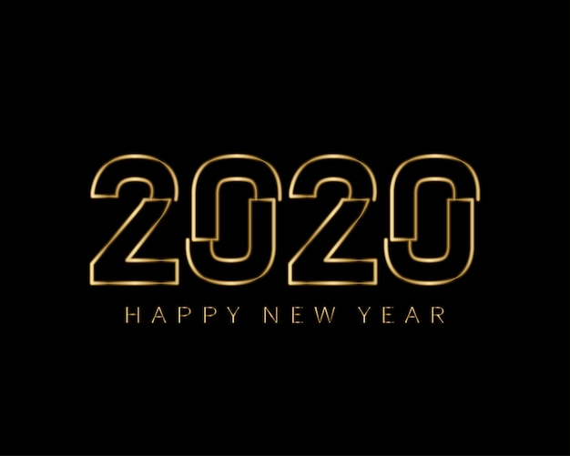 Felice anno nuovo 2020 bagliori dorati minimalisti Vettore Premium