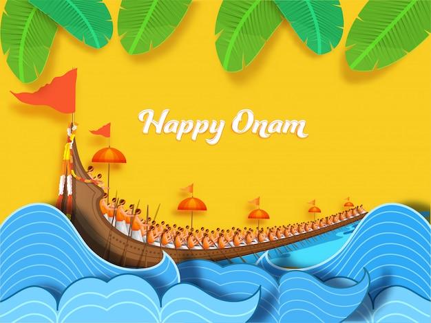Concetto felice di onam con la corsa di barca di aranmula, le onde di acqua del taglio della carta e le foglie della banana decorate su fondo giallo. Vettore Premium