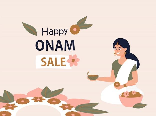 Buon design di vendita onam con donna indiana e rangoli Vettore Premium