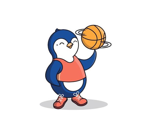 Il pinguino felice tiene un pallone da basket al dito. cartoonish sport-animal è un ragazzo che indossa una canotta e scarpe da tennis. Vettore Premium